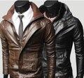 Байкер кожаная куртка Человек короткая конструкция Двойной воротник мотоциклетная Куртка мужской PU молнии пальто бренд-одежда зима Тренер пальто