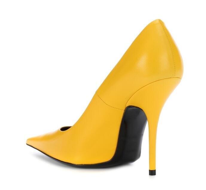 Cuir Pompes Chaussures Pointu Hauts 10 Bout En Sexy Grande Femmes Profonde Verni Jaune Taille Picture Peu Printemps À Robe Talons Mince As Automne 6AqI0qxw5