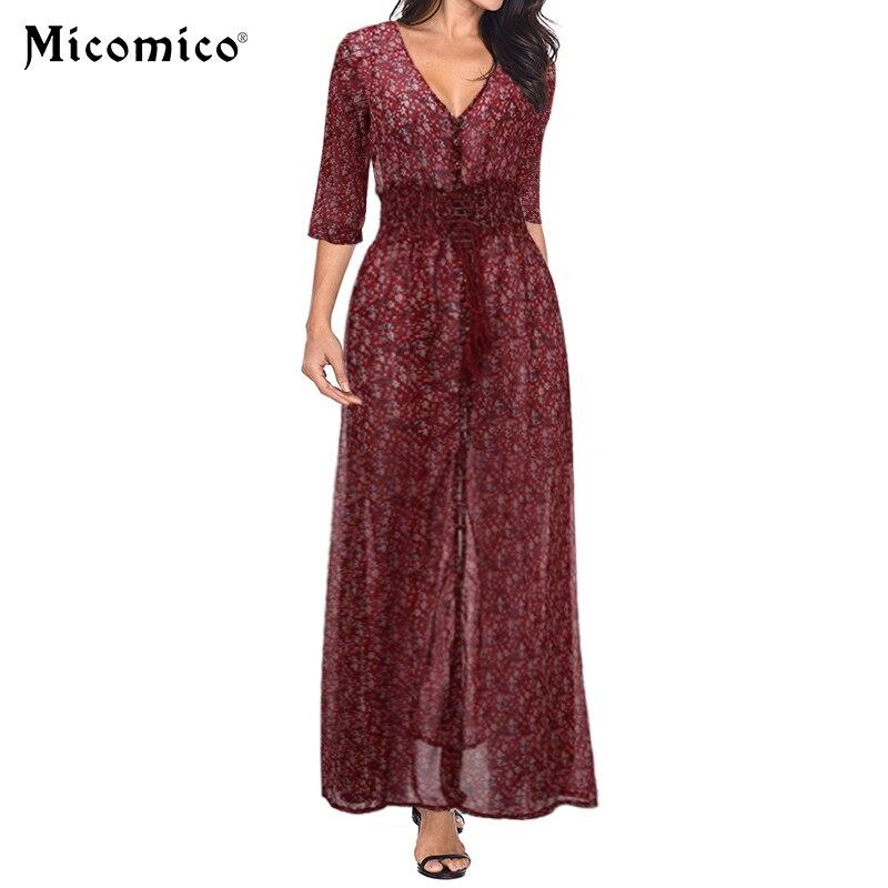 2018 Fashion Women Summer Dress Casual Sexy V Neck Belted Split Maxi Long Vestidos S M
