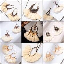Bohemian Tassel earrings for women Long Creamy White Fringe Statement Geometric Dangle Earrings fashion trendy vintage jewelry