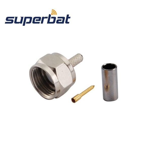 Superbat 10 Pcs 75 Ohm F Crimp Plug Male RF Connector For RG179 Free Shipping
