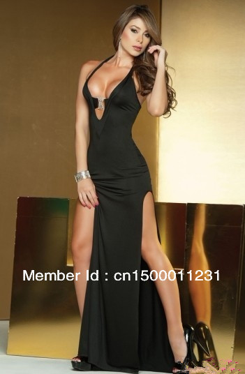 Cl17727 Slit Leg Deep V Long Gown Black Elegant Evening