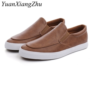 Image 3 - Fashion Men Loafers Slip On Casual Leather Shoes Mens Comfortable Moccasins Shoes Breathable Sneakers 2019 New Black White Flats