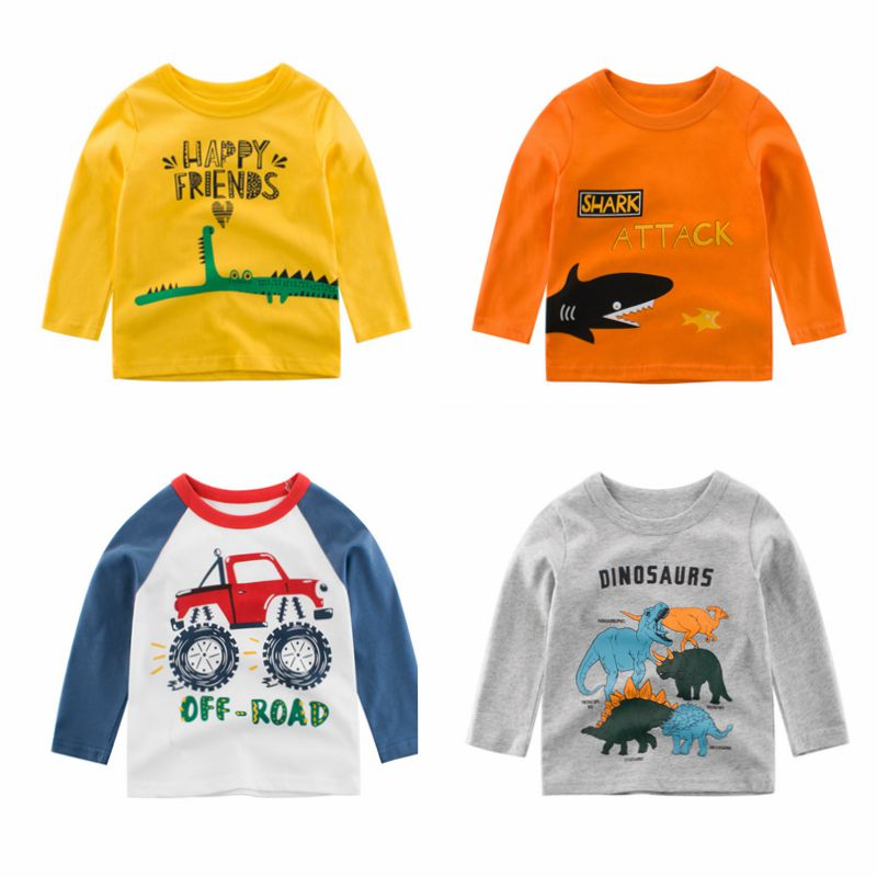 CYSINCOS Toddler Baby T Shirt Print Casual Girl Boy Unisex Clothes Long Sleeve O Neck Cartoon Printed Tops Children Blouse