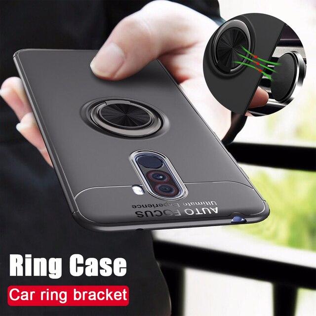 Étui antichoc pour Pocophone F1 étui anneau de doigt aimant mat housse en Silicone pour Xiaomi PocoPhone F1 étui pocophon Poco F1
