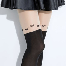 iurstar Fashion New Design Style Women Girls Love Heart Nightclubs Black Slimmer Sheer High Stocking Pantyhose Tattoo Tight(China)