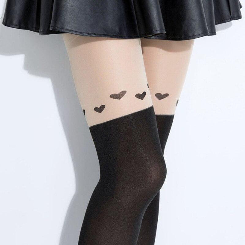 2018 Fashion New Design Style Women Girls Love Heart Nightclubs Black Slimmer Sheer High Stocking Pantyhose Tattoo Tight