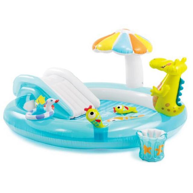 La familia cocodrilo tobogán de la piscina inflable piscina infantil piscina infantil piscina de bolas 203 cm * 173 cm * 89 cm