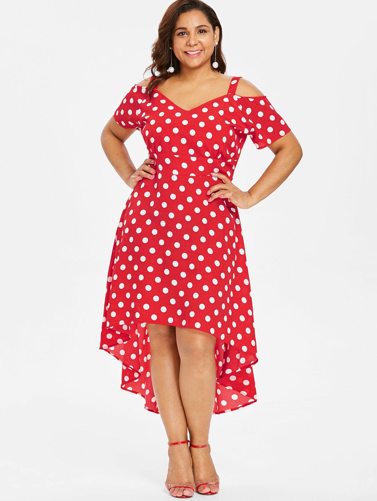 V Neck Asymmetric Hem Polka Dot Maxi Dresses