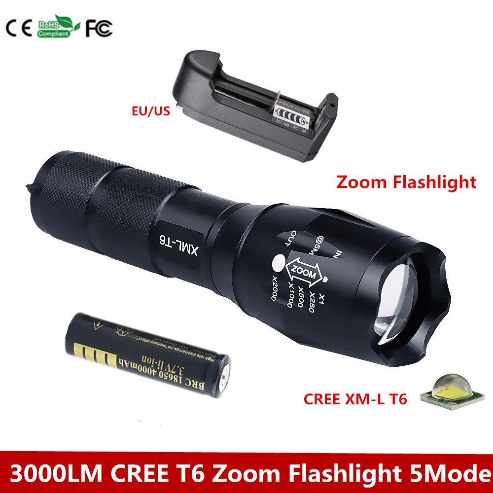 CREE XM L T6 3000 Lumens Zoomable LED Flashlight Torch font b light b font cree