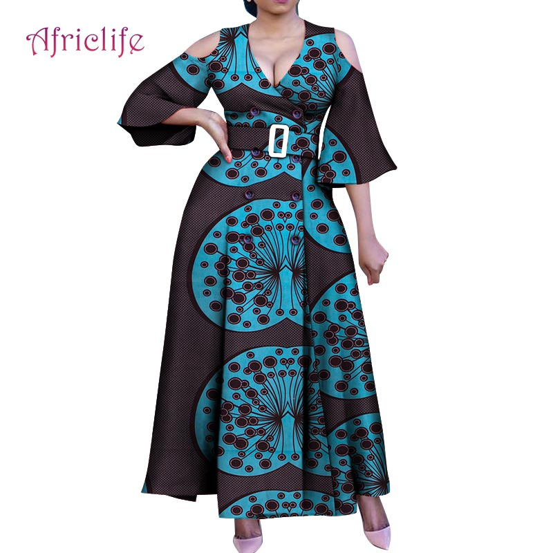 Sexy 2019 Women Clothing For Summer Fashion Double Breasted Plus Size Long Dress African Style Female Clothing WY4968