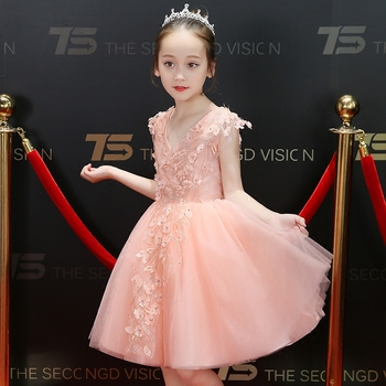 2018Fashion Children Girls Princess Birthday Wedding Party V-Collar Dress Baby Kids Carnaval Costumes For Kids Clothes 3~15Years