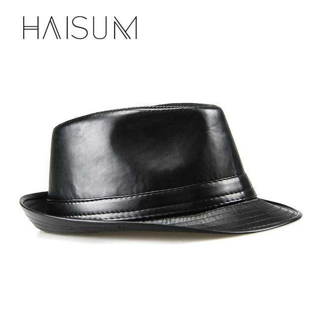 2018 nuevo Limited Cappelli Cappello Chapeau Homme Haisum moda hombres Pu  cuero sombreros Fedora Vintage Jazz 165359af70e