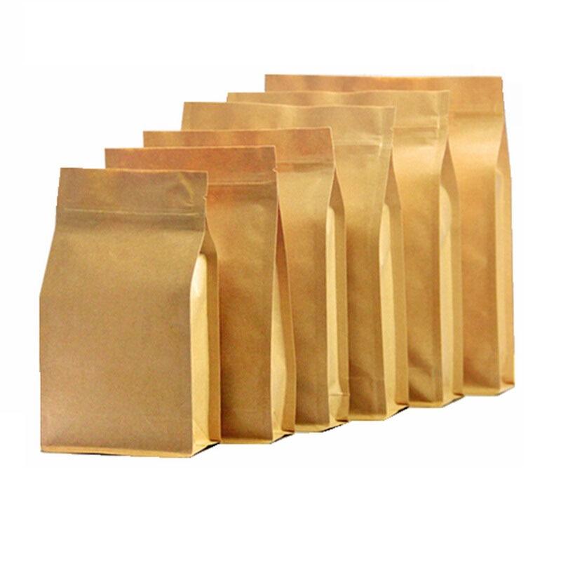 50pcs Wholesale! zip lock bag stand up brown Kraft paper