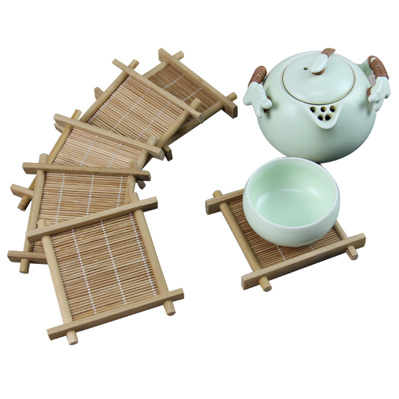 <font><b>6</b></font> Pcs/lot Bamboo Tea <font><b>Cup</b></font> Mat <font><b>Square</b></font> Handmade <font><b>Placemat</b></font> For Kungfu Tea <font><b>Set</b></font> Kitchen Accessories <font><b>Drink</b></font> <font><b>Coasters</b></font> Tea Tools Tableware