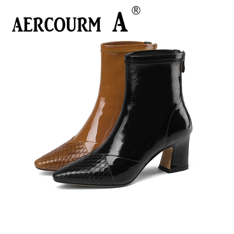 Aercourm A 2018 Women Winter Boots Serpentine Ankle Boots Lady Black Shoes Patent Leather Boots Short Plush Zip Girl Shoes 34-43