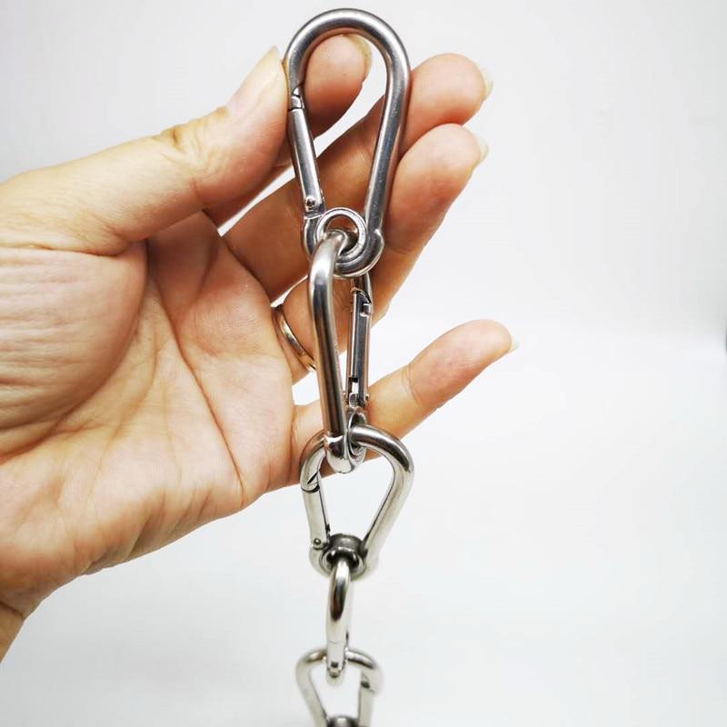 10PCS 50mm M5 Silver 304 Stainless Steel Carabiner Spring Camping Climbing Secure Lock Snap Hook Eyelet Link