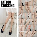 2016 Hot Fashion Lovely Sexy  Women Girl Cute Tattoo Pattern Printed Skin Color  Party Vacation Pantyhose Stockings New