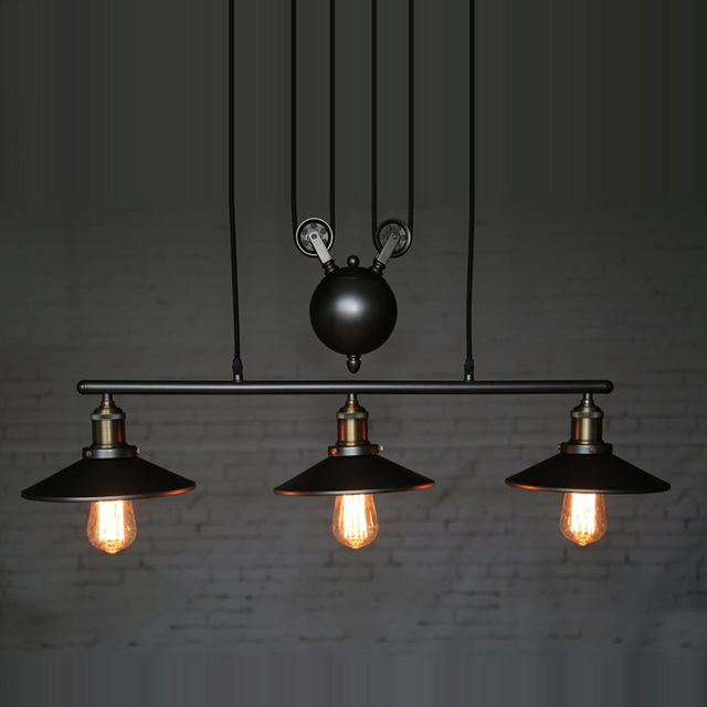 Creative Pendant Lamps Pulley Design Island Lights Black Iron Hang - Hanging island light fixture
