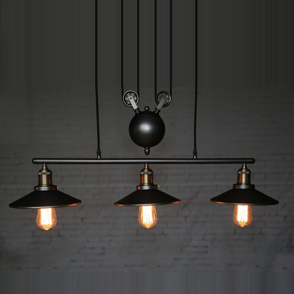 Creative Pendant Lamps Pulley Design Island Lights Black Iron Hang Painted Light Dining Room