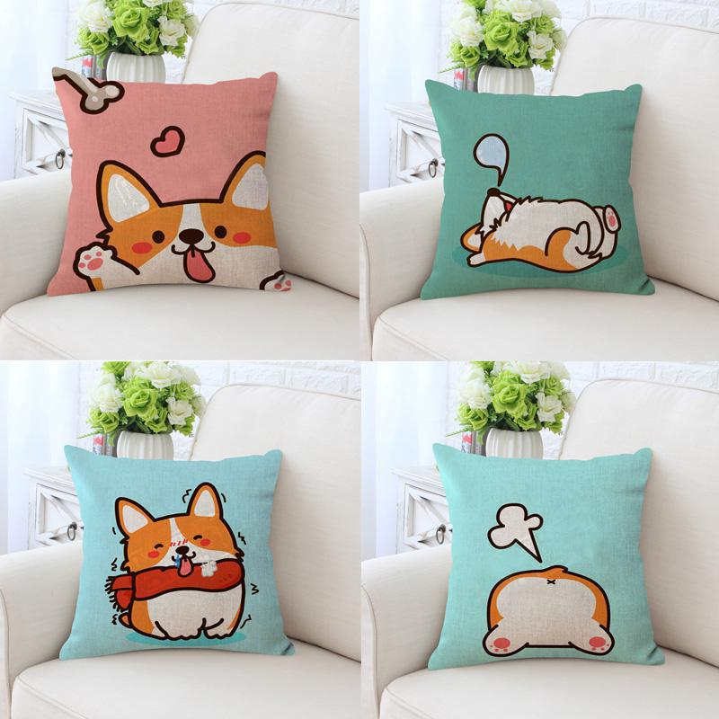 Cute Cartoon Dog Pillow Cover Corgi Kawaii Pet Christmas Stocking Hat Tree Deer Antler Cushion Case For Children Room Decoration