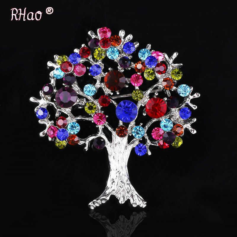 RHao Wanita Colorful Kristal Hidup Pohon Bros Perhiasan hadiah Natal Pohon Pohon Kehidupan Tanaman Pakaian Bros Korsase bros pin