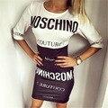 De las nuevas mujeres cartas de impresión vestidos de europa sexy o-cuello impreso patchwork casual dress 8024