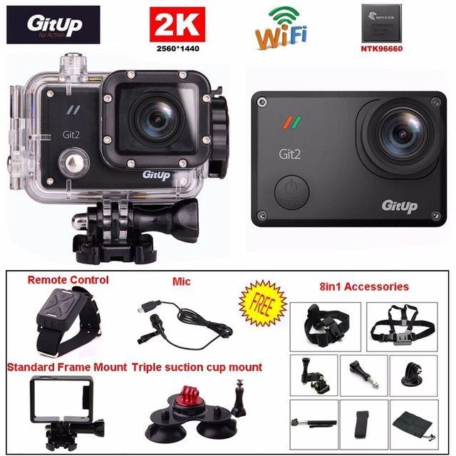 Gitup Git2 16MP WiFi 2K Full HD 1080P Outdoor Sports Action Camera+Microphone+Remote Control+8 in 1 Accessories
