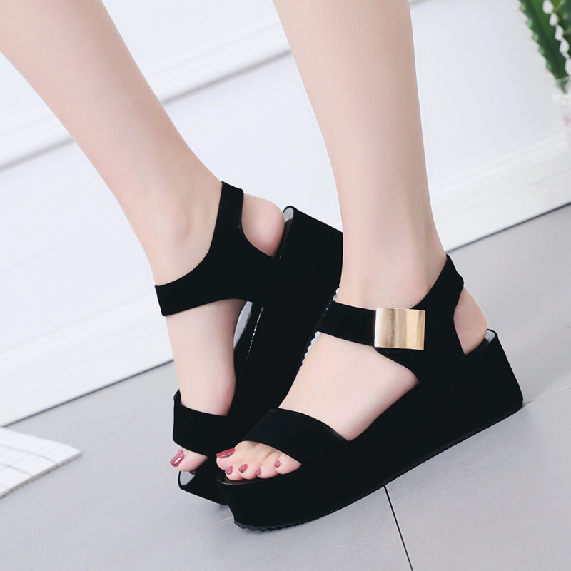 Female Sandals Wedge Women's Shoes High-Heel Fish-Mouth Muffin Thick-Bottom Casual Fashion