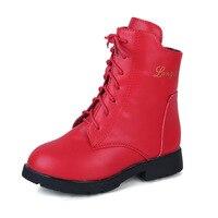 Girls Autumn Winter Martin Boots Children Fahsion Lace British Style Boots Kids Zipper Princess Flats Ankle
