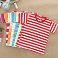 2016 fashion children clothing t shirt,stripe cotton boys&girls Short sleeve t-shirt 2-6 years old ,kids baby shirt