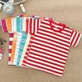 2016 niños que arropan la camiseta, algodón de la raya muchachos y chicas manga corta t-shirt de 2-6 años de edad, los niños para bebés