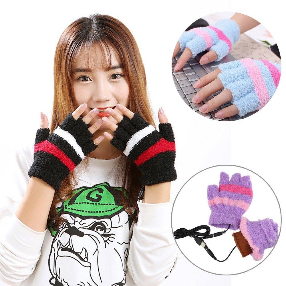 USB Heating Winter Hand Elegant Warm Gloves Heated Fingerless Soft Warmer Mitten Gloves without fingers Glove For Women De 26