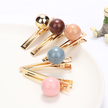 Pinzas para el pelo de bola redonda de Color caramelo para niños y vacaciones