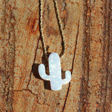 New Opal Long Chain Necklace Plant Fashion Simple White Cactus Pendant Lovers Jewelry