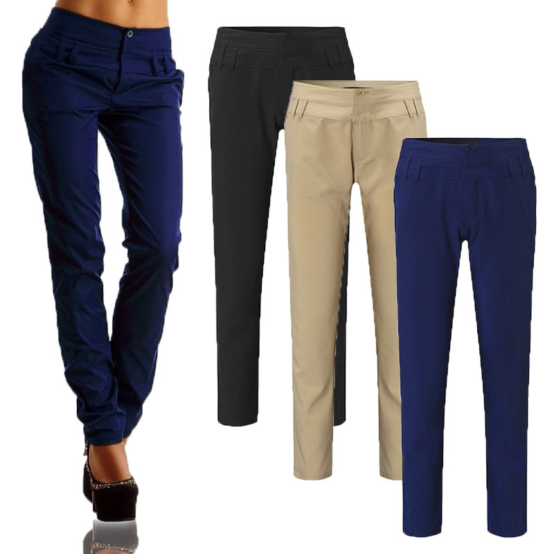 Buttons OL Ladies Women High Waist Long Pants Casual Skinny Plus Size Leggings Pencil Trousers