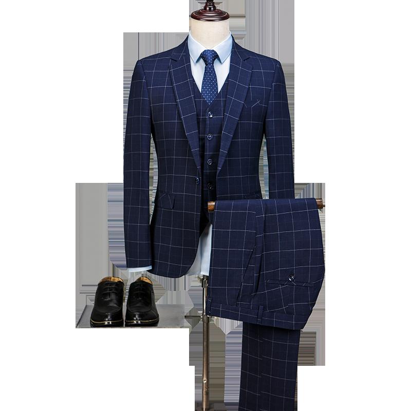 2018 Latest Coat Pant Designs Navy Blue Pattern Men Suit Formal Slim Fit  Business Marriage Groom Blazer Prom Tuxedo Style Terno f60c8015dba5