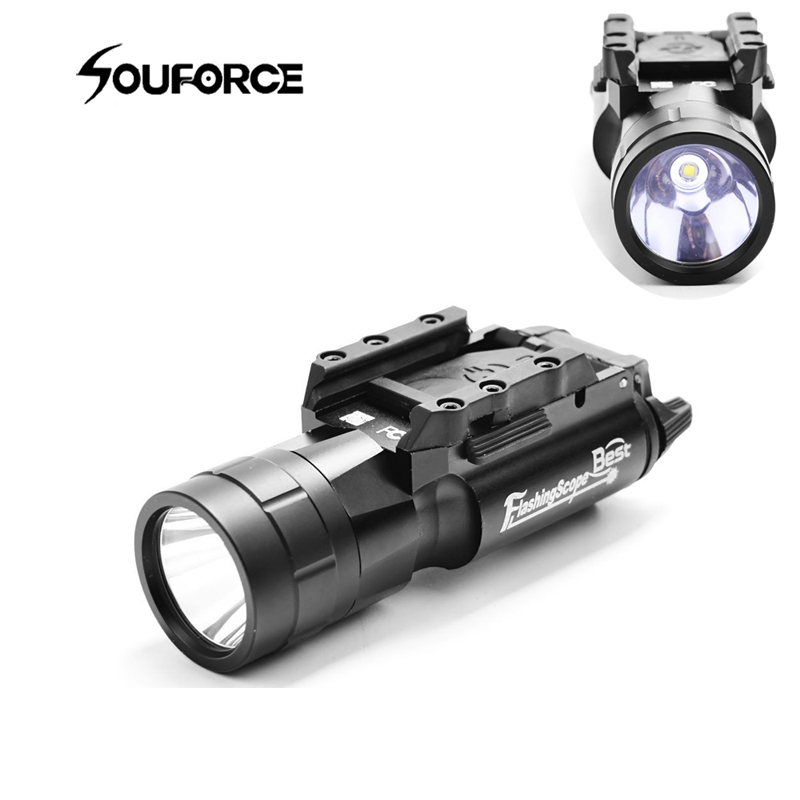 Tactical 500 Lumen Flashing Scope FlashLight fit 20mm Rail Weaver Picatinny for Rail Riflescope Hunting