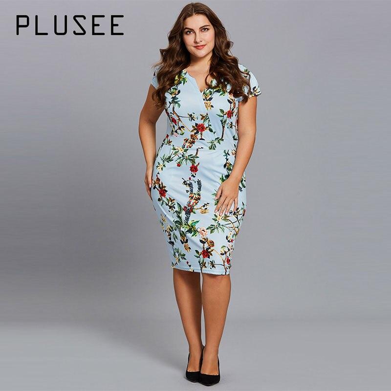 Plusee платье плюс Размеры 4XL 5XL Для женщин светло-синий карандаш до середины икры v-образным вырезом середины талии молния Цветочный принт плюс...
