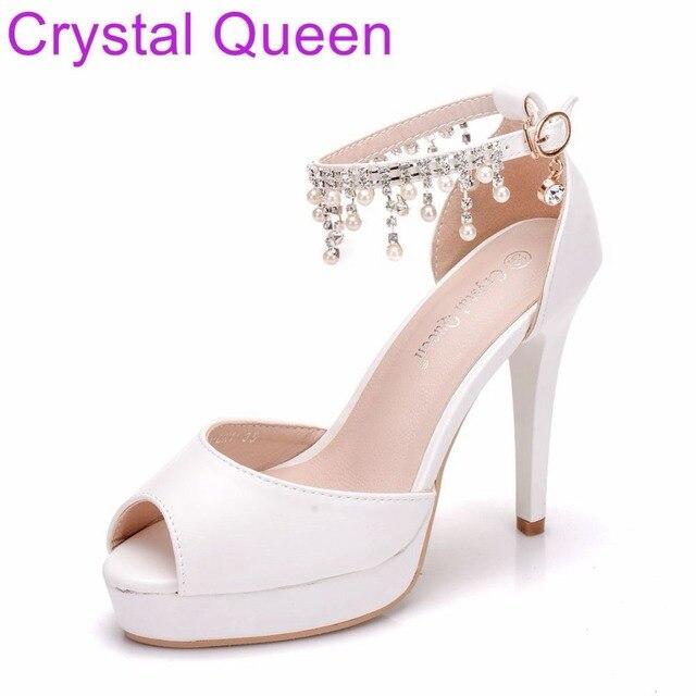 Crystal Queen White Pumps Shoes For Women Wedding Bridal Shoes 11CM  Platform Shoes Peep Toe Thin 4ae2a0d3100b