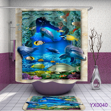 Marine life dolphins Print Waterproof Shower Curtain Polyester Fabric Bath Curtain Home Bathroom Curtains