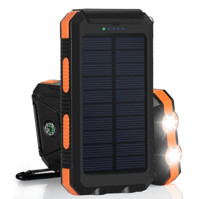 Banco de la energía solar externa powerbank cargador de batería 10000 mah portátil solar cargador solar universal para el iphone samsung tablet