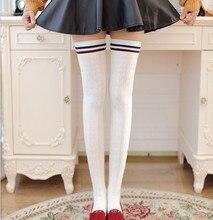 NEW 2015 Woman Stockings winter Stripe over knee socks thigh high cheap long sexy Cotton fashion grain vintage stockings 1 pair