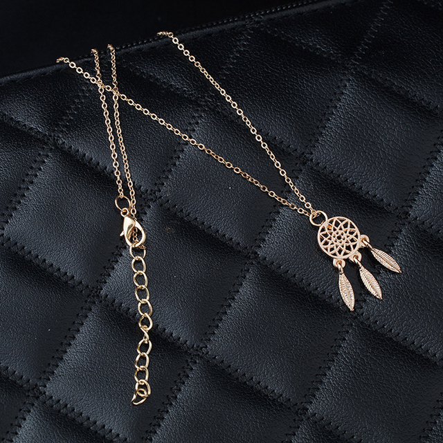 Gold Dream Catcher Feather Necklace