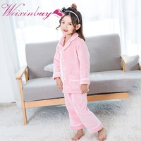 Baby Boys Girls Thick Flannel Pajamas Sets Kids Winter Button Sleepwear Pajama Suits Children Home Clothes