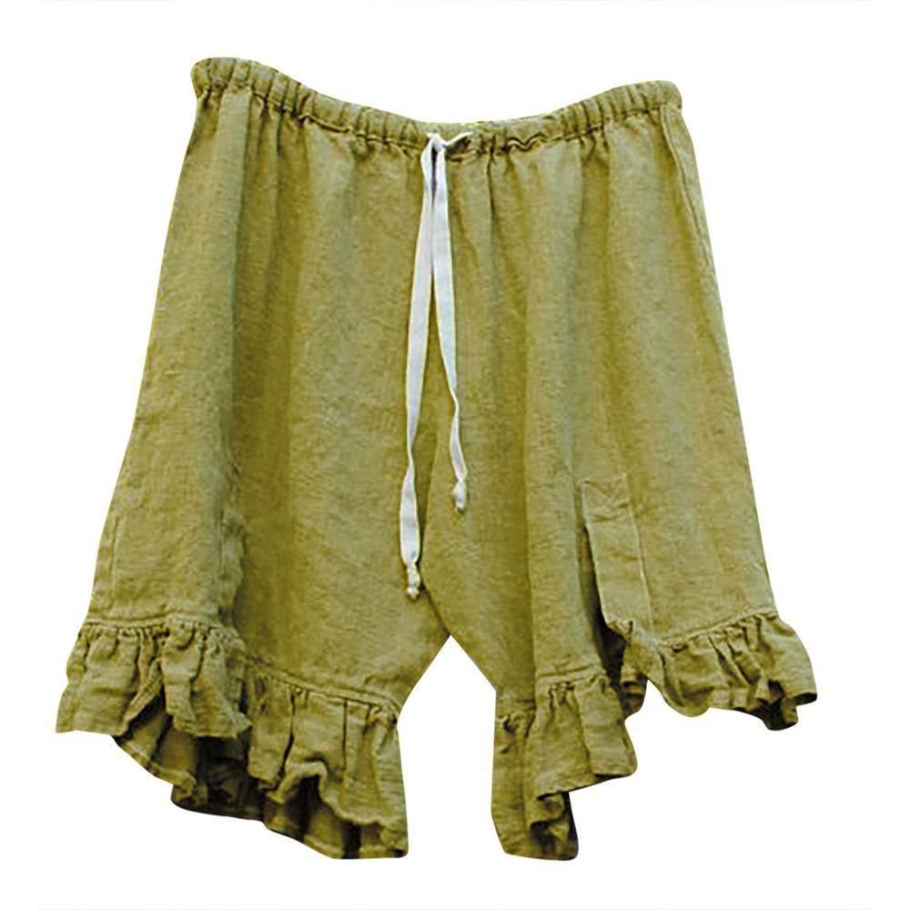 2019 Fashion Women Plue Size   Short   Causal Solid Linen High Waist Tie Up Loose Wide Leg   Shorts   Summer Casual   Short   with Linen