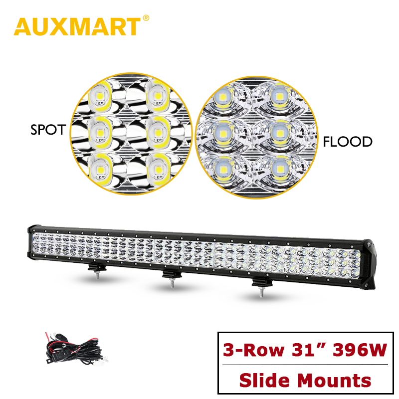 Auxmart 31 396w Tri- Row LED Light Bar Offroad 4x4 Combo Drivding Work Light 12v 24v For 4WD SUV ATV RZV PickUp Truck LED Bar makita 9911