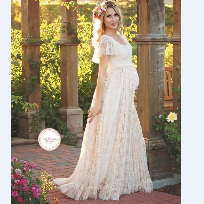 2017 Γυναίκες Λευκή φούστα Μητρότητα Φωτογραφία Props Lace Ένδυμα για την εγκυμοσύνη Ρούχα μητρότητας Για έγκυες Photo Shoot Ένδυση