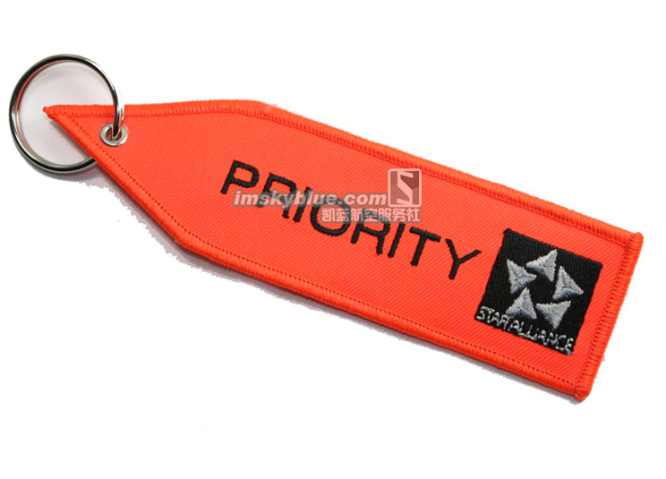 """Priority Tag: STAR ALLIANCE With Orange Embroider """" PRIORITY """" Travel"""