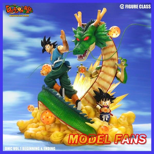 Les FANS du modèle INSTOCK Dragon Ball Z goku début et fin de la statue en résine gk contiennent une figurine de lumière LED pour la Collection